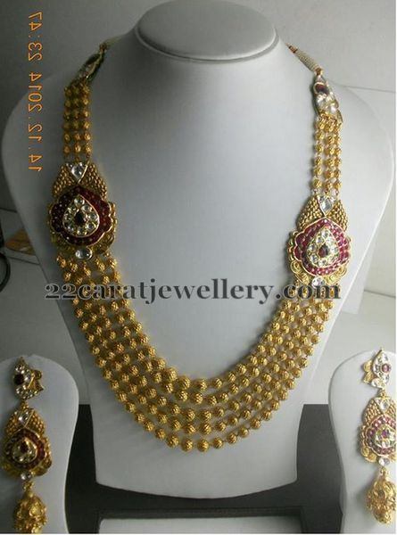 Jewellery Designs: Gold Beads Sets with Motifs