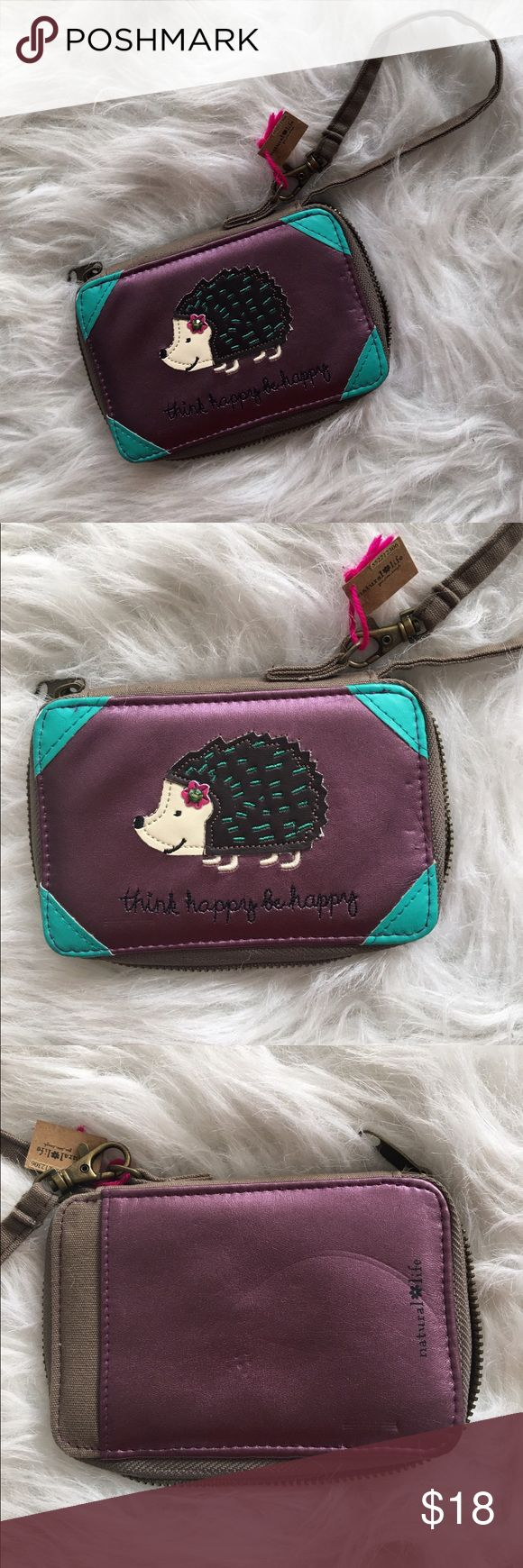 """Natural Life Hedgehog Vegan Leather Wristlet Adorable vegan leather hedgehog wallet Wristlet by Natural Life. Inspirational message: Live Happy Be Happy. Although nwt the Front & back has slight dent marks - see pics above. In otherwise great condition. 2.5"""" X 7"""" X 5"""" NATURAL LIFE Bags Clutches & Wristlets"""