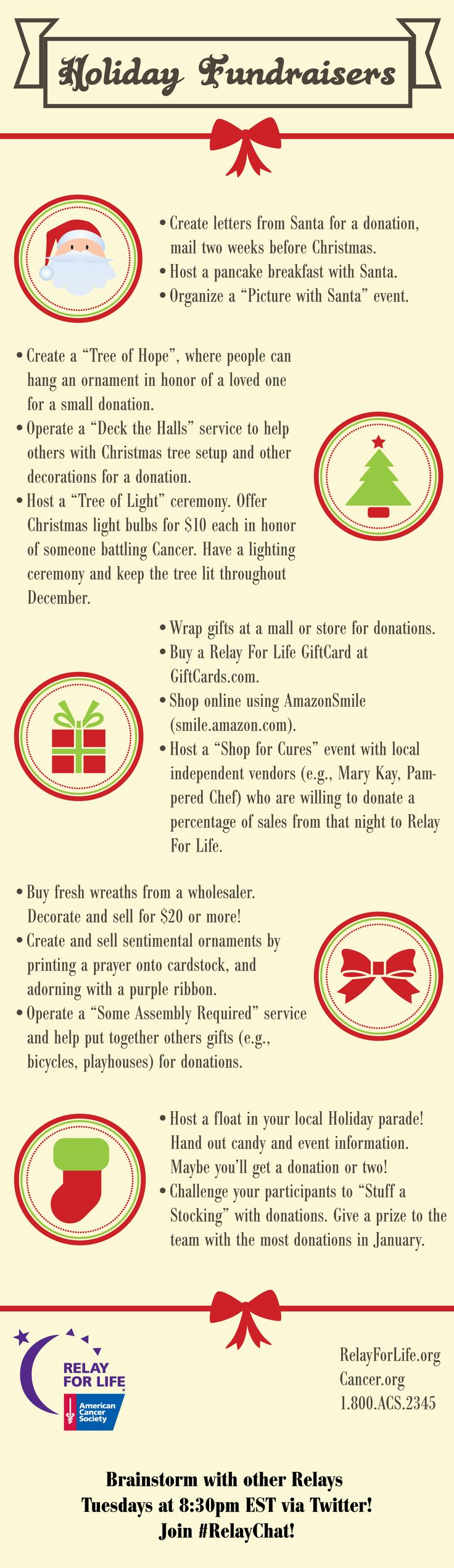 Ideas for Holiday Fundraisers generated by #RelayChat! Join us Tuesdays at 8:30pm via Twitter to talk Relay For Life topics.