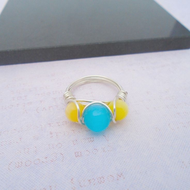 Cats Eye Wire wrapped Ring, Blue Gemstone Ring, Blue Cats Eye Jewellery, Gemstone Jewellery, Yellow Cats Eye Ring, Yellow Gemstone Ring by K8tieSparkles on Etsy