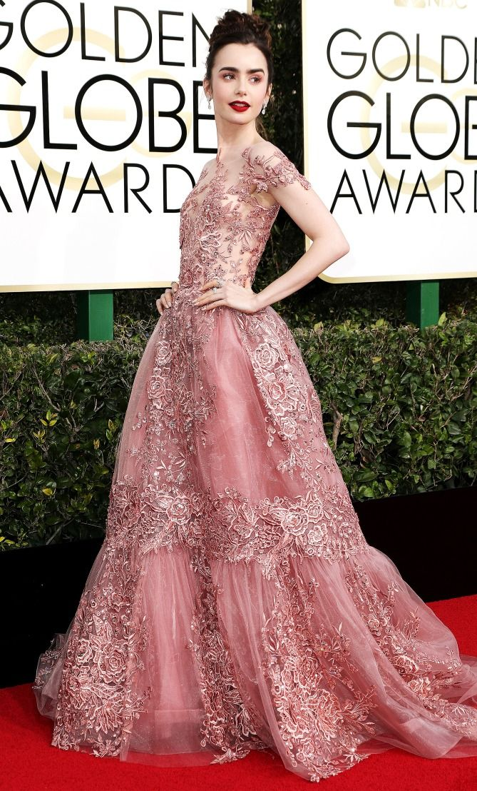Golden Globes 2017: Lily Collins in a Zuhair Murad Couture dress