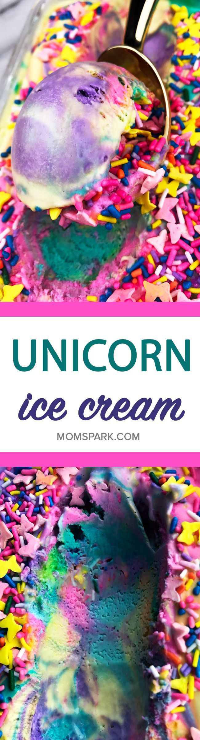 Rainbow Unicorn Ice Cream Recipe - Unicorns may be imaginary magical creatures, but we're still ready to celebrate them. Today's recipe does just that. It's a mixture of bright rainbow ice cream colors covered in sprinkles. This ice cream recipe is perfect for your next fantasy unicorn party celebration. Or just because it's fun and delicious. Either way. No judgment here.