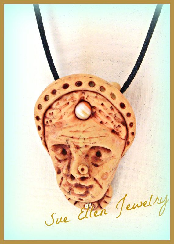 a faux ivory pendant old woman head READY TO by SueEllenDreamland