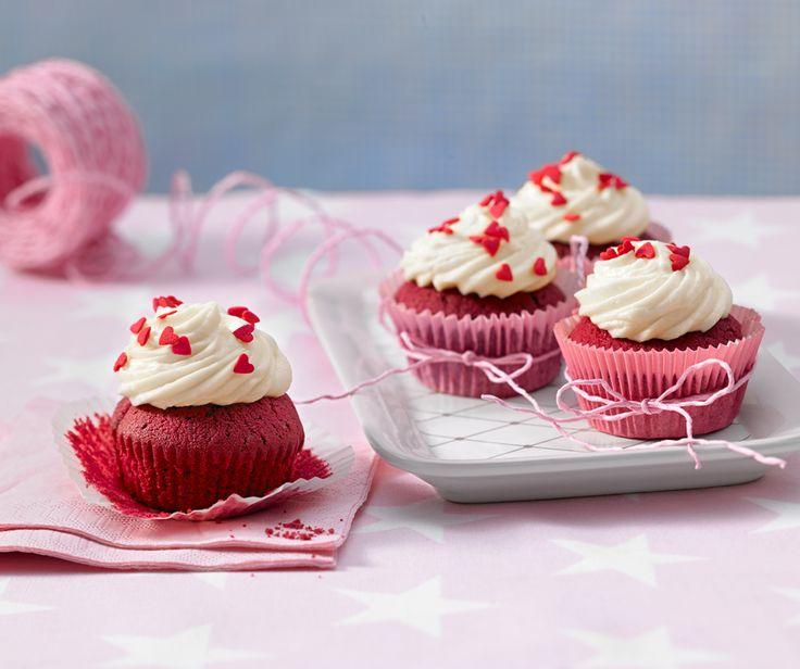 Red Velvet Cupcakes mit Kakao und Frischkäse