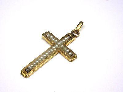 Gold 750er: Wunderschönes antikes Kreuz mit Saatperlen    4G8462