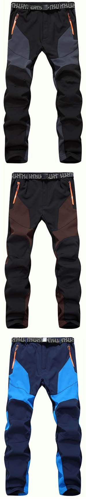 men cargo pants:Mens Outdoor Soft Shell Water-repellent Quick-Dry Breathable Stitching Color Sport Pants
