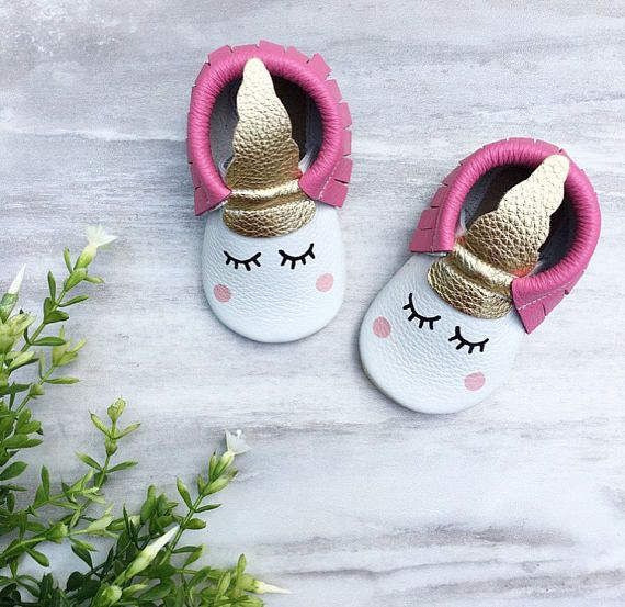 HotPink Unicorn Moccasins Baby Moccasins Toddler Moccasins