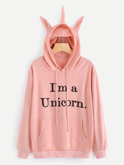 Slogan Print Unicorn Ear Hoodie With Kangaroo Pocket