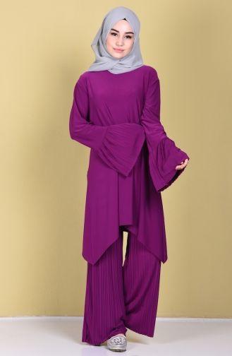 62152f7faf7e0 Sefamerve, Tunik Pantolon İkili Takım 11131-01 Mor | kıyafet ...