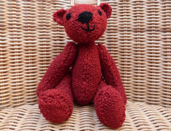 Traditional  Red Teddy Bear Home-Made Old Fashioned by WoolyLily