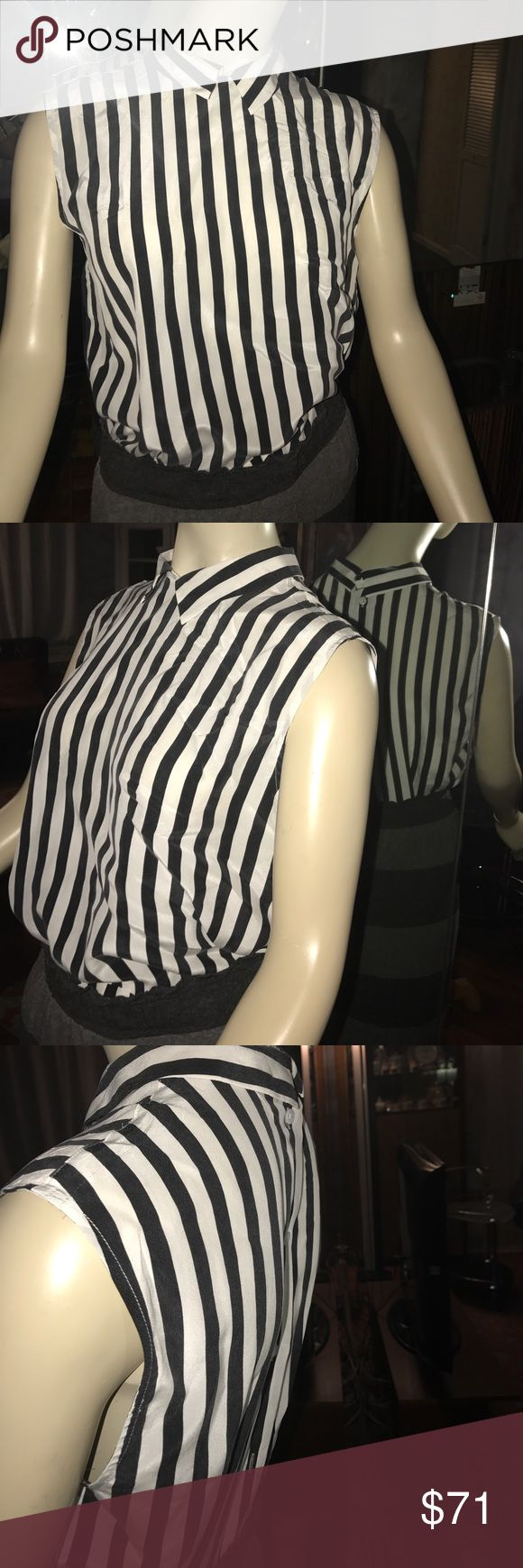 Equipment silk black white stripe button down back Like new condition true to size  buttons in place smooth silk material great fit button down back Equipment Tops Blouses