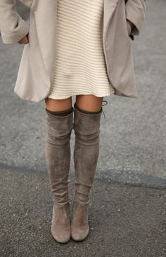 Make over-the-knee boots part of your everyday winter look by mixing them with chunky knits. #newlook #fashion
