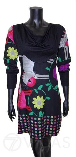 Vestidos de Invierno con Estampados de Gatos y Flores de Colores, Moda Mujer. Disponible ahora en tallas S, M y L.