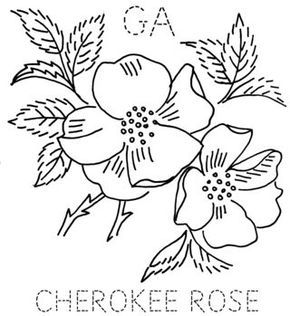 Embroidery - State flower quilt block: Georgia, Cherokee Rose