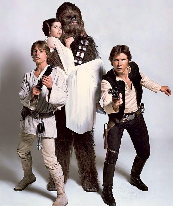han solo leia and luke | Luke Skywalker, Princess Leia, Chewbacca and Han Solo ... | Star Wars