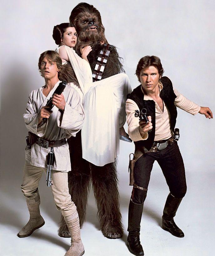 han solo leia and luke | Luke Skywalker, Princess Leia, Chewbacca and Han Solo ... | Star Wars