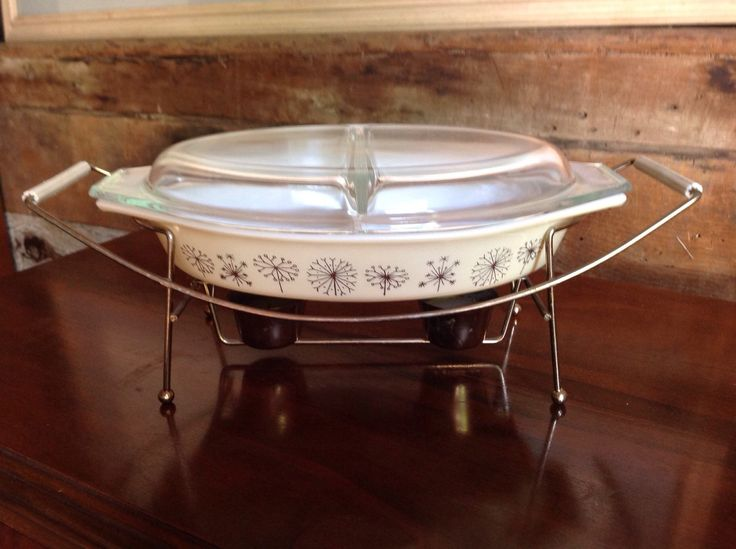 Pyrex, vintage chafing dish, Dandelion pattern ,double server, promo 1959, heated, covered, metal stand. by willowcreekinteriors on Etsy