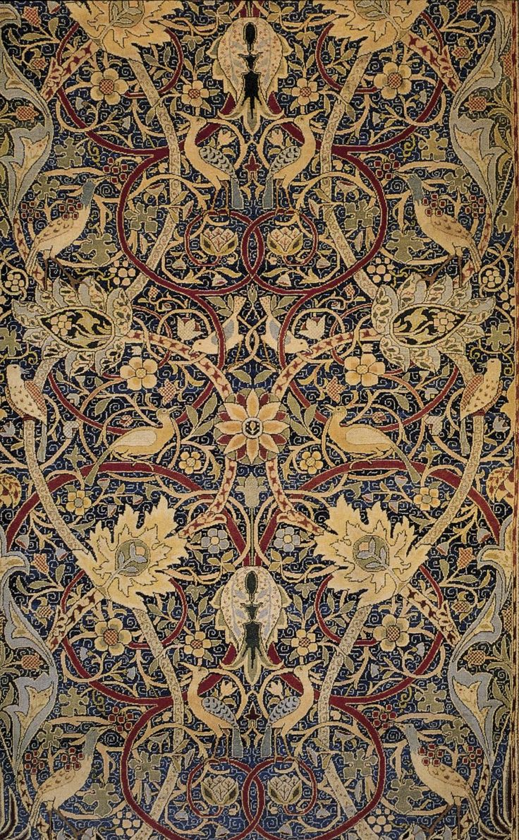 Picture this carpet in a polished wood library, with fireplace, and course shelves and shelves of books! Bullerswood Carpet (detail), 1889 William Morris