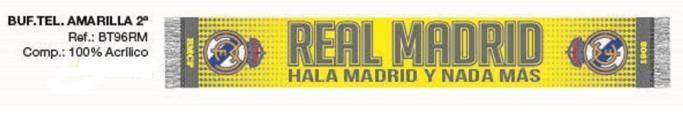 BUFANDA REAL MADRID AMARILLA  Este artículo lo encontrará en nuestra tienda on line de complementos www.worldmagic.es info@worldmagic.es 951381126 Para lo que necesites a su disposición