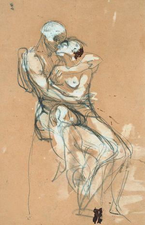 Drawing of The Kiss, Auguste Rodin