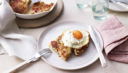 Bacon Rosti and Eggs - crispy fried potato with bacon and eggs makes a delicious, filling brunch.