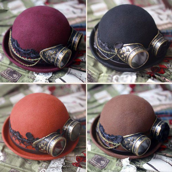 Steampunk Woolen Bowler Hat with Googles