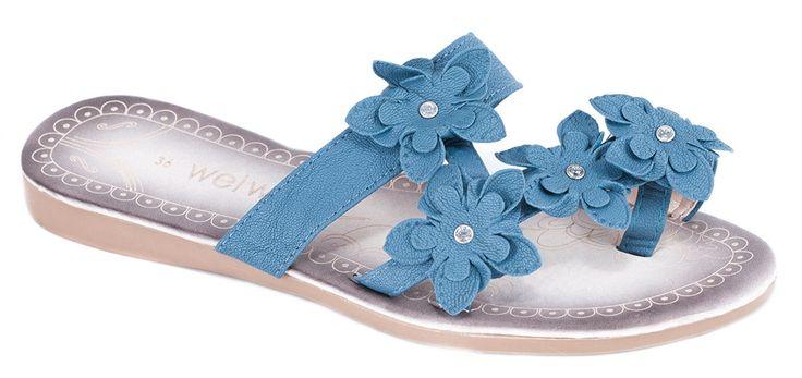 Papuci albastri de dama P200A. Reducere 50%.