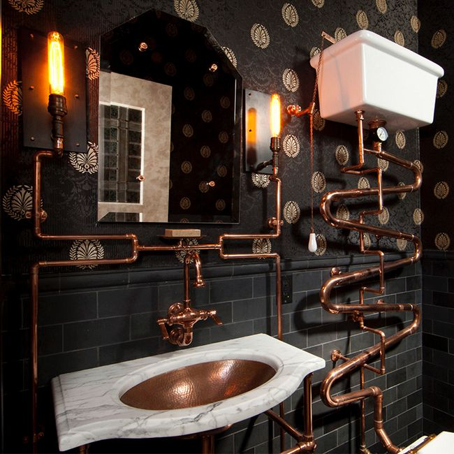 #ARTmetal © ideas. www.aias.se Steampunk Bathroom by Andre Rothblatt Architecture  Design ideas for an eclectic bathroom in San Francisco.  http://www.andrerothblattarchitecture.com/ http://www.houzz.com/projects/61782/steampunk-bathroom