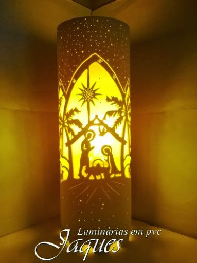 Luminária em pvc Presépio, criada com cano de 100mm e com 30 cm de altura