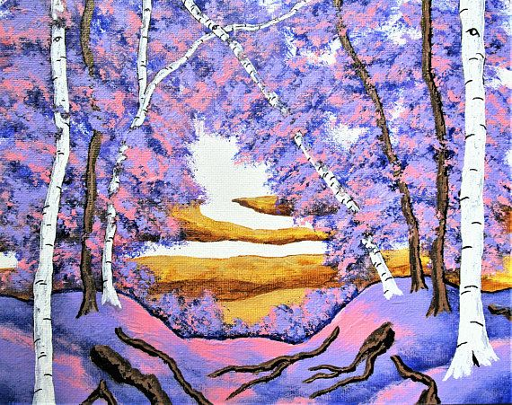 Brightscapes: The Way To Beauty  The Birch Forest https://www.etsy.com/listing/208108993/the-birch-forest-original-acrylic  Birch trees have always been a meditative source for me. Growing up, there was one outside my window that I would look at while daydreaming. And, when I needed to get away from the world I went to a grove of Birch trees to find refuge. I've always found the unique and nearly useless white tree interesting.
