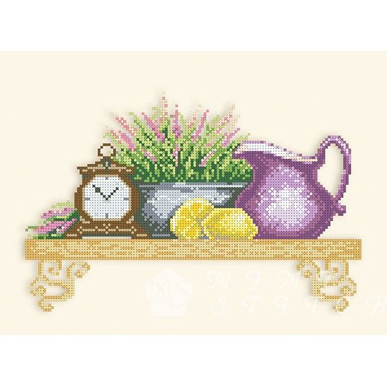 Канва с рисунком для бисера Полочка с лавандой Т-0049 #beads #beadwork #embroidery #mimistitch