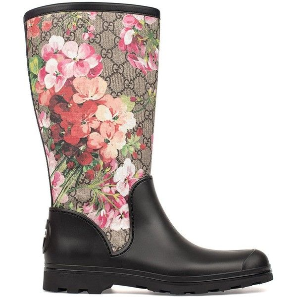 Black Gg Blooms Rain Boot (1 585 PLN) ❤ liked on Polyvore featuring shoes, boots, black, wellington boots, black shoes, rubber sole boots, gucci boots and floral shoes