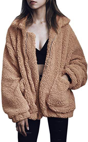 d2f2561343e9 ECOWISH Women s Coat Casual Lapel Fleece Fuzzy Faux Shearling Zipper ...