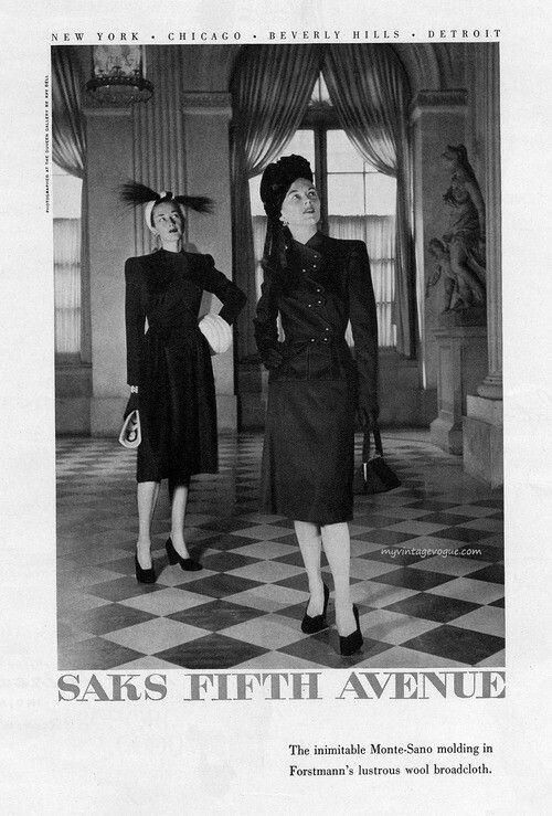 vintage fashion saks fifth avenue Ad 1946