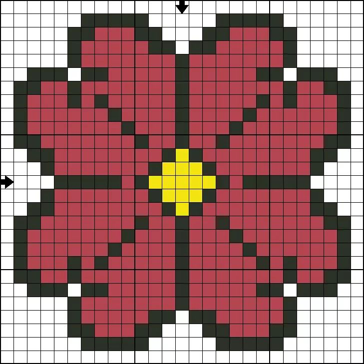 Картинка цветочка по клеточкам