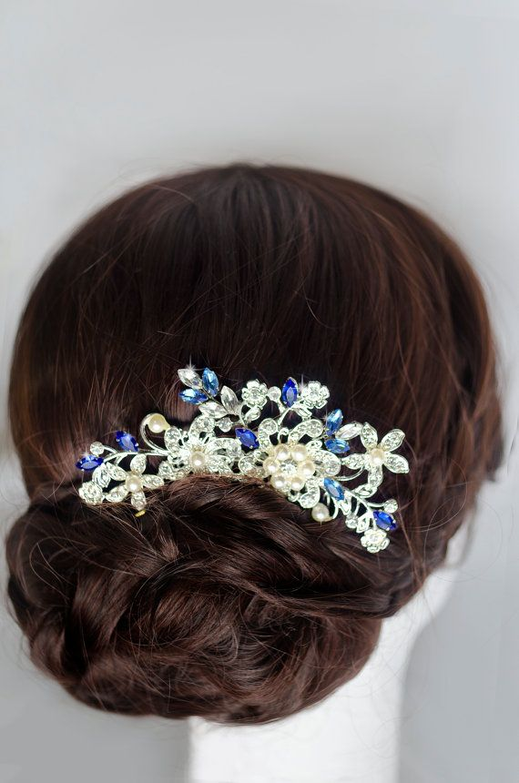 Hey, I found this really awesome Etsy listing at https://www.etsy.com/listing/262777599/something-blue-hair-comb-sapphire-blue