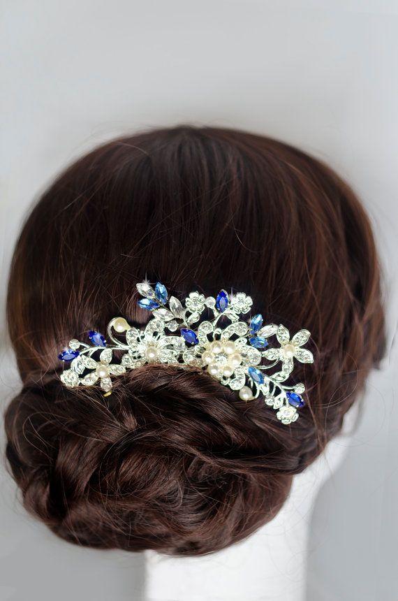Something blue hair comb sapphire blue swarovski by MarinaUA