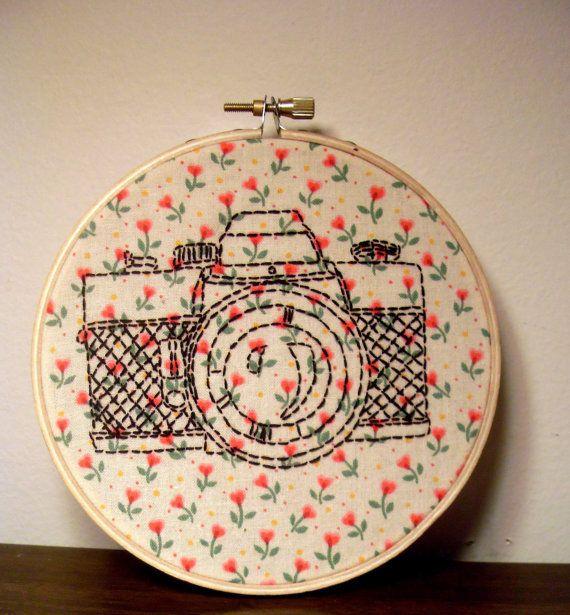 Hand Embroidery Hoop - Vintage Camera on Etsy, $37.89 AUD