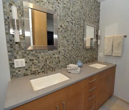 Natural Maple Vanity Modern Bathroom With Cabinets, Beveled Mirrors And Glass Tiles Backsplash. Tile Backsplash H