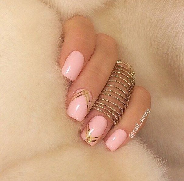 Beautiful nails 2016, Long nails, Pale pink nails, Pink and gold nails, Pink manicure ideas, Pink nails, Plain nails, Ribbon nail art