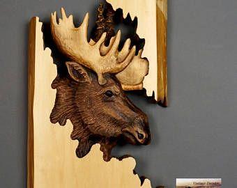 Alces tallados en madera, animales de madera, únicos, talla de madera, regalo madera, animales arte, decoración de casa, regalo de caza DavydovArt
