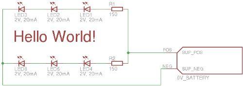 Simple electronic circuits: Hello World (Schematics)