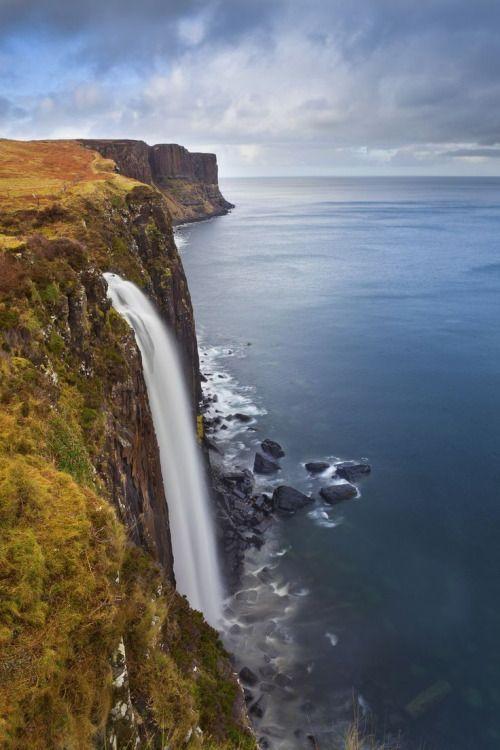 Cliffside waterfalls, Isle of Skye, #Scotland