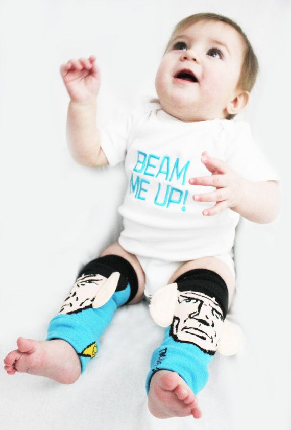 OMG!!!  Star Trek Beam Me Up Baby Costume Outfit with matching Spock baby leg warmers! Perfect Halloween costume!!  #startrek #spock #beammeup