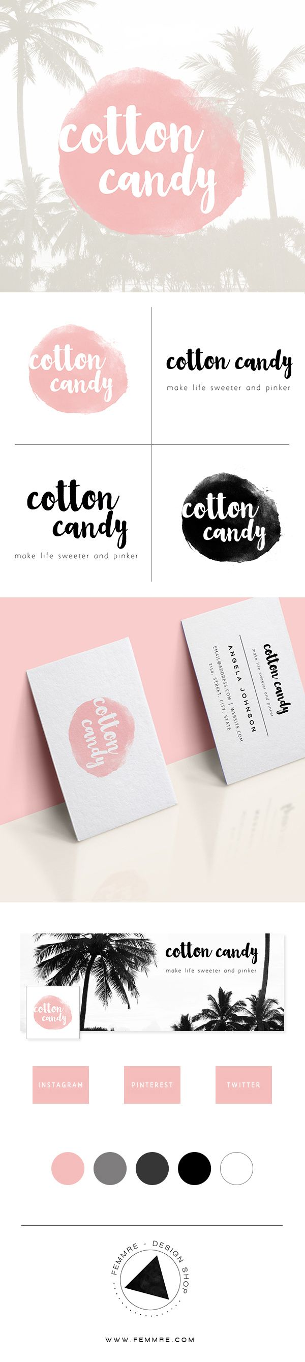 Cotton Candy Premade Brand Launch (sold only once) | FEMMRE - Chic Premade Branding | logo design, brand design, branding, premade brand, premade logo