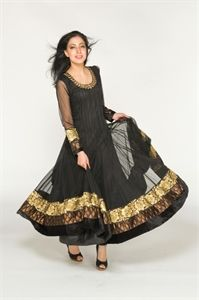 Show details for Midnight Black and Gold Anarkali