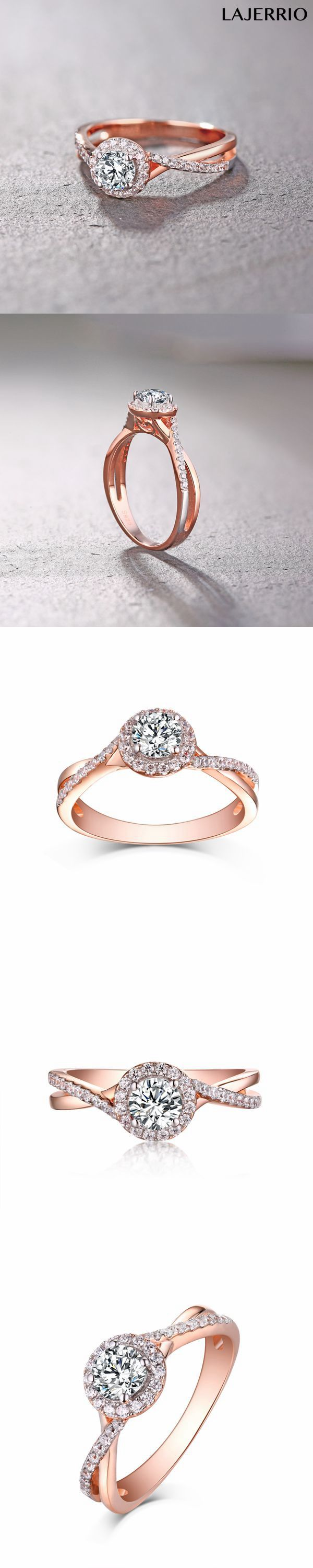 Lajerrio Jewelry Round Cut Rose Gold 925 Sterling Silver White Sapphire Halo Engagement Rings