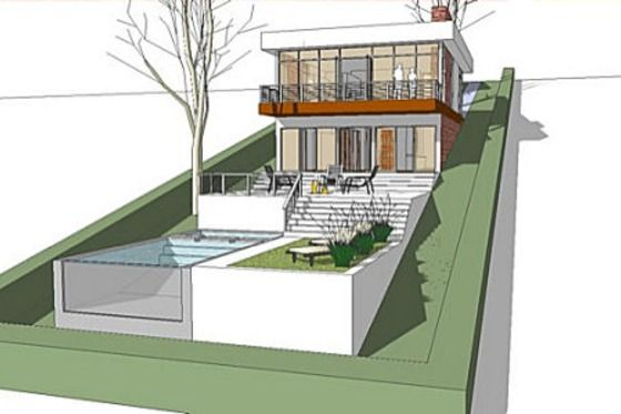 All encompassing design for a hill. (House Plan 64-166) A little too modern for me, but I love that everything is here including the pool.