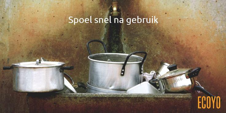 #ECOYO's tip van de dag: Spoel snel na gebruik  Giet meteen na gebruik een beetje water in nog warme kookpotten: zo krijgen ze al een voorwasbeurt. Spoel ook licht bevuild keukengerei even af na gebruik  (vergiet,  mengkommen,  enz.) in plaats van ze meteen in de vaatwasser te steken