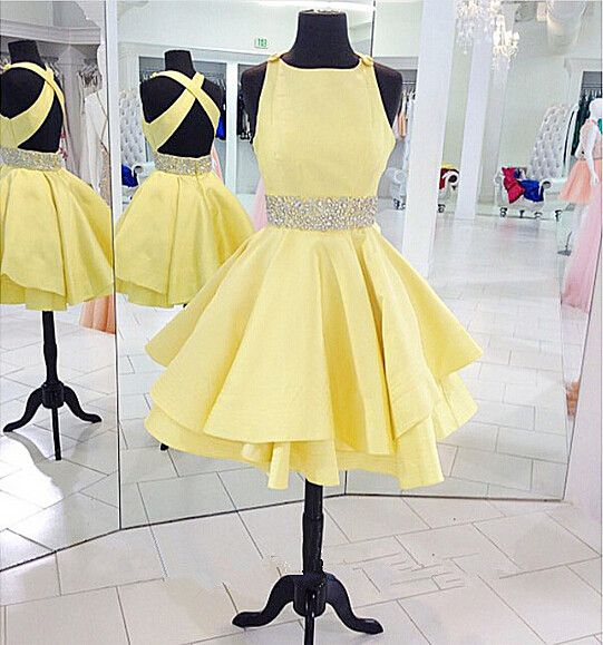 cross back party dress,yellow beading dress,cute party dress,homecoming dress